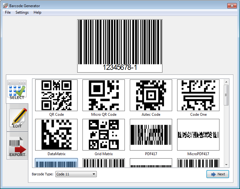 Barcode Generator Screen shot